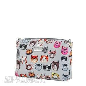 kosmetyczki: Kosmetyczka farbaby 2059 koty szare - ręcznie szyte