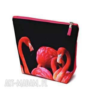 handmade kosmetyczki flamingi kosmetyczka wodoodporna tył różowy