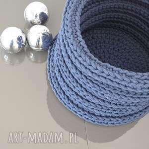 niebieskie kosze szydełko duży kosz ze sznurka bawełnianego wykonany