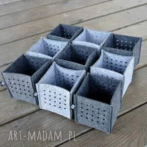 handmade filcowe zestaw trzech pojemników z filcu