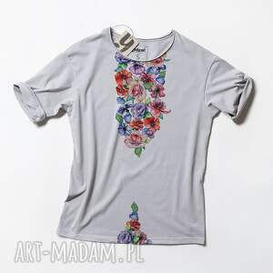 modne koszulki tshirt flowers luźna prosta koszulka