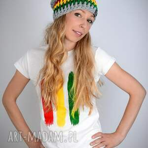 reggae koszulki koszulka biała rasta - damska