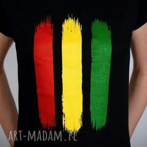handmade koszulki jamajka koszulka czarna rasta - damska