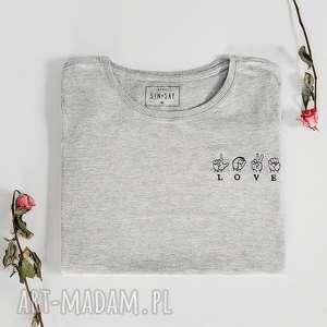 szare koszulki koszulka z haftem love