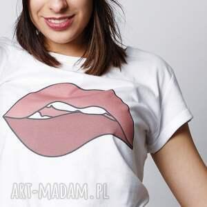 koszulki usta lips biały tshirt z nadrukiem