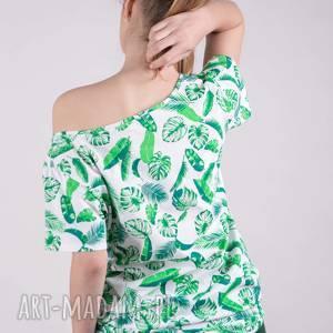handmade koszulki t shirt t damski basic biały w liście