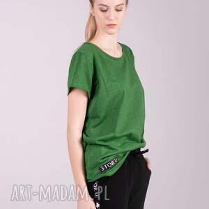 białe koszulki bluzka t shirt damski klasyczny zielony