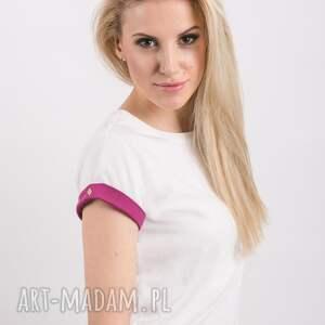 białe koszulki biała t shirt - koszulka pink sleeves