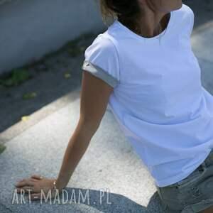 trendy koszulki biała t shirt - koszulka latte sleeves