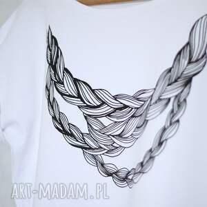 507388dc4f8b5f HandMade koszulki - warkocz koszulka bawełniana biała