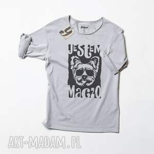 wyjątkowe koszulki pies york maczo szara koszulka z psem
