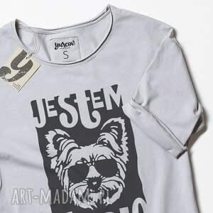 wyjątkowe koszulki dog york maczo szara koszulka z psem