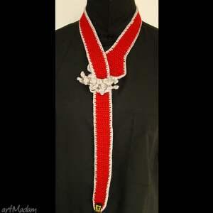 nietypowe krawaty krawat - pasek czerwony damski