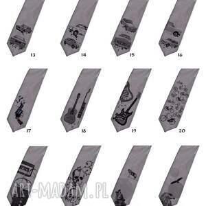 szare krawaty krawat z nadrukiem - sowa