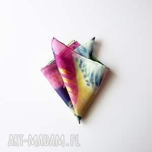 poszetka krawaty różowe malowana - abstrakcyjny