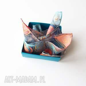 turkusowe krawaty brustasza ręcznie malowana poszetka - turkusy
