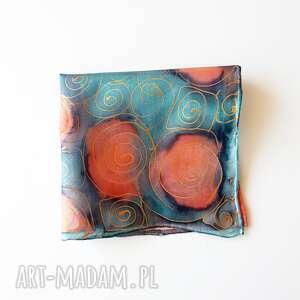 krawaty malowana ręcznie poszetka - turkusy