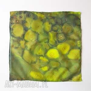 Malowany Jedwab Ręcznie malowana poszetka w zieleniach i złocie - robione dla mężczyzny