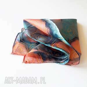 poszetka krawaty różowe ręcznie malowana - turkusy