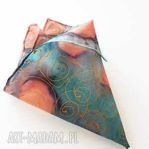 malowana krawaty ręcznie poszetka - turkusy
