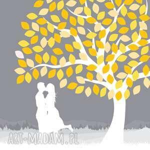 szare księgi gości księga drzewo wpisów zakochanej pary 50x70