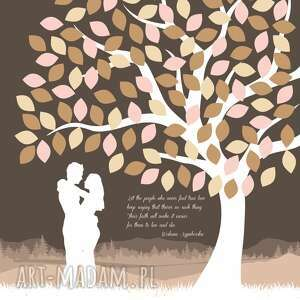 kolorowe księgi gości ślub drzewo zakochanych - plakat a