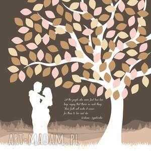 kolorowe księgi gości ślub drzewo zakochanych - plakat ala