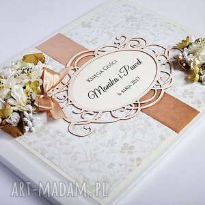 białe księgi gości ślub księga z kwiatami