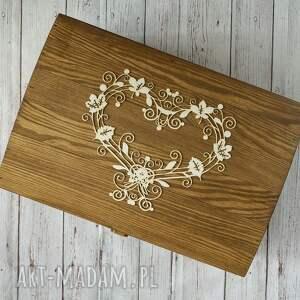 beżowe księgi gości drewno kufer na koperty - ażurowe