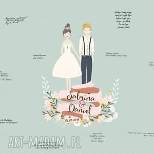 Kreatywne Wesele Obraz a la księga gości z wizerunkiem pary młodej -50x70 cm - para ślub