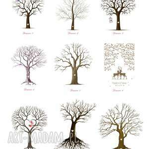 księgi gości ślub obraz na płótnie - drzewo wpisów