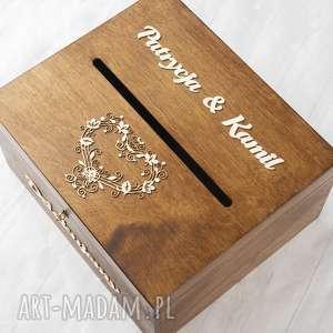 brązowe księgi gości pudełko na koperty - koronkowe