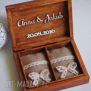 brązowe księgi gości pudelko pudełko na obrączki - dwa serca