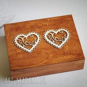 ręcznie robione księgi gości pudelko pudełko na obrączki - dwa serca