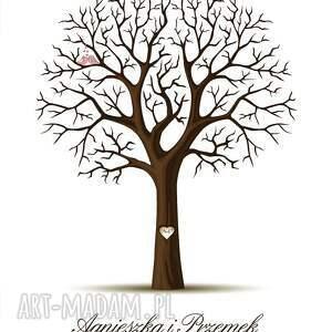 Kreatywne Wesele księgi gości: Romantyczne drzewo wpisów 40x50 cm 2 tusze - plakat goście