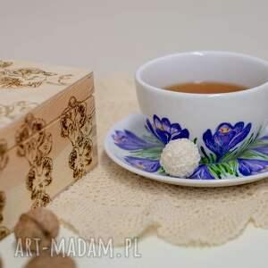 ceramika fioletowe duża filiżanka ręcznie malowana