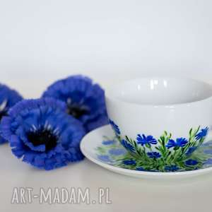 niebieskie kubki filiżanka malowana chabry duża