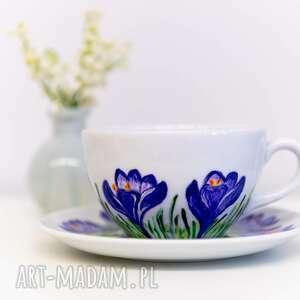 niebieskie ręcznie malowane duża filiżanka malowana
