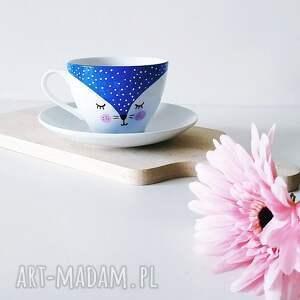 porcelanowy kubki filiżanka ze spodkiem 150 ml kot