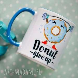 niebieskie kubki kubek donut give up