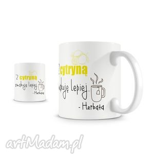 białe kubki herbata kubek - z cytryną