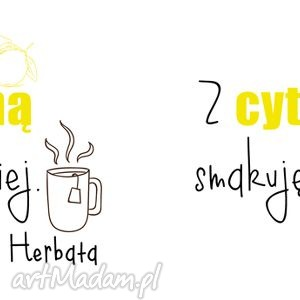 kbek żółte kubek dla wielbicieli herbaty z cytryną