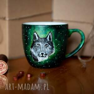 handmade kubek wilk malowany - srebrny