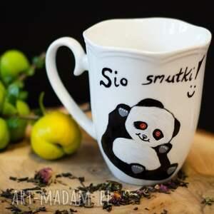 Pracownia Szafran kubki: Kubek panda na dobry dzień, personalizowany malowany ręcznie na dzien
