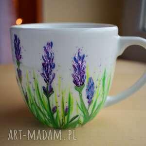 fioletowe kubki wiosenny kubek z lawendą ręcznie malowany
