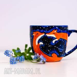 Pracownia Szafran kubki: kubek zakochane lisy galaxy malowany
