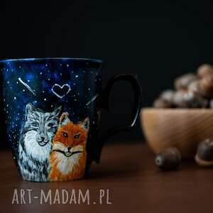 magiczny kubek kubki niebieskie porcelanowy do kawy z wilkiem