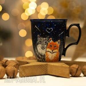 handmade kubki personalizowany prezent porcelanowy kubek do kawy z wilkiem