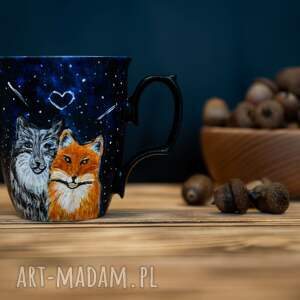 czarne kubki porcelana malowana porcelanowy kubek do kawy z wilkiem