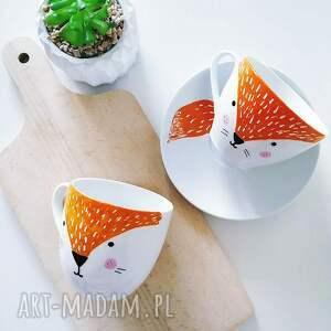 atrakcyjne kubki porcelanowa ręcznie malowana filiżanka z lisem